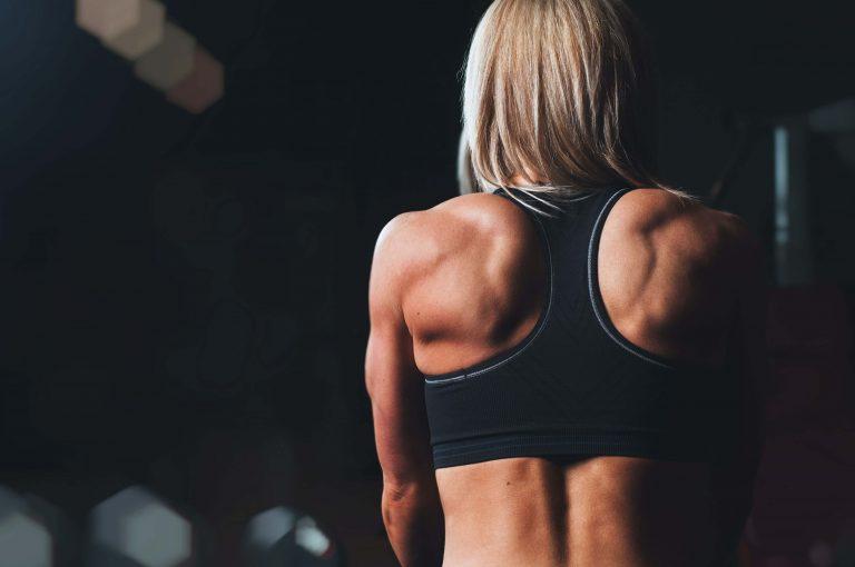 Muskelaufbau, Rücken einer Frau, schöne Muskeln